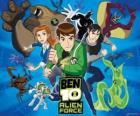 Ben, Gwen and Kevin, human protagonists of Ben 10 and his 10 original alien personalities