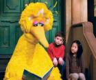 Big Bird reading a storybook