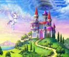 My Little Pony flying near a castle
