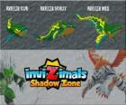 Kriller Cub, Kriller Scout, Kriller Max. Invizimals Shadow Zone. This peaceful whale is unbeatable with its stone skin