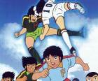 Soccer players in a football match from Captain Tsubasa