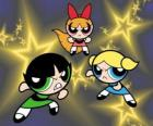 The Powerpuff Girls flying among the stars thanks to their super powers