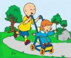 Caillou taking a walk with little sister in the stroller
