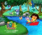 Dora and her friend boots the Monkey on a boat