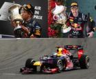 Sebastian Vettel celebrates victory in the Bahrain Grand Prix (2012)