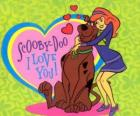 Daphne embracing Scooby Doo