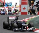 Pastor Maldonado celebrates his victory in the Grand Prix of Spain (2012)