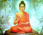 Drawing of Gautama Buddha seated, is the central figure of Buddhism