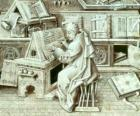 Copyist monk working with pen and ink on parchment or paper in the scriptorium