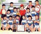 The team of Captain Tsubasa with a trophy