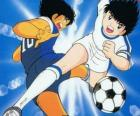 Captain Tsubasa at high speed while is controlling the ball