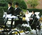 The newlyweds leaving the ceremony in a horse-drawn carriage