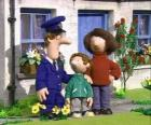 Portrait of the Postman Pat and his family, his wife Sarah and his son Julian