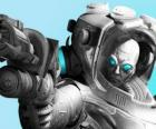 Mr. Freeze with his cold gun. The evil scientist is an enemy of Batman
