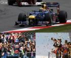 Mark Webber celebrates his wictory in the British Grand Prix 2012