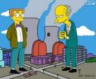 Charles Montgomery Burns and Waylon Smithers, the owner of the Springfield nuclear power plant and his assistant