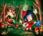 Little Red Riding Hood in the forest with the Wolf hidden among the trees