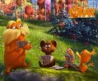 The Lorax playing with animals from the Valley of Trufula