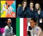 Women's individual foil podium, Elisa Di Francisca (Italy), Arianna Errigo (Italy) and Valentina Vezzali (Italy) - London 2012-