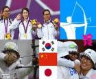 Podium women's archery team, Korea in the South, China and Japan - London 2012 -