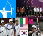 Podium men's archery teams, Italy, United States and Korea of the South - London 2012-