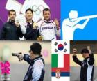Podium shooting, men 10 m air pistol, Jin Jingoh (South Korea), Luca Tesconi (Italy) and Andrija Zlatić (Serbia)