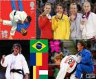 Podium Judo women's - 48 kg, Sarah Menezes (Brazil), Alina Dumitru (Romania), Charline Van Snick (Belgium), and Eva Csernoviczki (Hungary) - London 2012 -