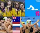 Podium swimming women's 4 x 100 metre freestyle relay, Australia, United States and Netherlands - London 2012-