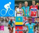 Men's road cycling podium, Alexander Vinokourov (Kazakhstan), Rigoberto Urán (Colombia) and Alexander Kristoff (Norway) - London 2012 -