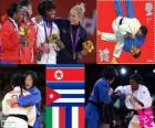 Podium Judo women's - 52 kg, Kum Ae An (North Korea), Yanet Bermoy Acosta (Cuba), Rosalba Forciniti (Italy) and Priscilla Gneto (France)