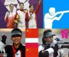 Podium shooting, women's 10 m air rifle, Yi Siling (China), easy Bogacka (Poland) and Yu Dan (China)