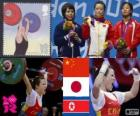 Weightlifting women's 48 kg podium, Wang Mingjuan (China), Hiromi Miyake (Japan) and Ryang Chun-Hwa (North Korea) - London 2012 -