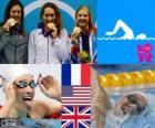 Swimming women's 400m freestyle podium, Camille Muffat (France), Allison Schmitt (United States) and Rebecca Adlington (United Kingdom) - London 2012 -