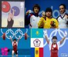 Weightlifting 53kg women's podium, Zulfiya Chinshanlo (Kazakhstan), Hsu Shu-Ching (Chinese Taipei) and Cristina Iovu and Cristina Iovu (Moldova) - London 2012 -