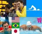 Swimming 400m individual medley men's podium, Ryan Lochte (United States), Thiago Pereira (Brazil) and Kosuke Hagino (Japan) - London 2012 -