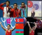 Weightlifting men's 56kg podium, Om Yun-Chol (North Korea), Wu Jingbao (China) and Valentin Hristov (Azerbaijan) - London 2012 -