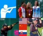 Women's skeet shooting podium, Kim Rhode (United States), Wei Ning (China) and Danka Bartekova (Slovakia) - London 2012 -