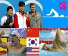 Swimming men's 400 metre freestyle podium, Sun Yang (China), Park Tae-Hwan (South of Korea) and Peter Vanderkaay (United States) - London 2012 -