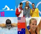 Swimming Women's 100 metre butterfly podium, Dana Vollmer (United States), Lu Ying (China) and Alicia Coutts (Australia) - London 2012 -