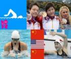 Swimming Women's 400 metre individual medley podium, Shiwen Ye (China), Elizabeth Beisel (United States) and Li Xuanxu (China) - London 2012