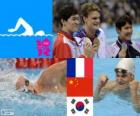 Swimming men's 200 metre freestyle podium, Yannick Agnel (France), Sun Yang (China) and Park Tae-Hwan (South Korea) - London 2012 -