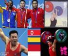 Weightlifting men's 62kg podium, Kim Un-Guk (North Korea), Oscar Figueroa (Colombia) and Eko Yuli Irawan (Indonesia) - London 2012 -