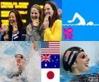 Swimming Women's 100 metre backstroke podium, Missy Franklin (United States), Emily Seebohm (Australia) and Aya Terakawa (Japan) - London 2012 -