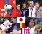 Judo women's - 57kg podium, Kaori Matsumoto (Japan), Corina Căprioriu (Romania) and Marti Malloy (United States), Automne Pavia (France) - London 2012-