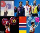 Weightlifting women's 58kg podium, Li Xueying (China), Pimsiri Sirikaew (Thailand) and Yulia Kalina (Ukraine) - London 2012 -
