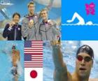 Swimming men's 100 metre backstroke podium, Matt Grevers, Nick Thoman (United States) and Ryosuke Irie (Japan) - London 2012 -
