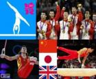 Gymnastics men's Team all-around podium, China, Japan, and United Kingdom - London 2012-