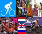 Women's road cycling podium, Marianne Vos (Netherlands) Elizabeth Armitstead (United Kingdom) and Olga Zabelinskaya (Russia) - London 2012 -