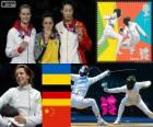 women's fencing Individual épée podium, Yana Shemiakina (Ukraine), Britta Heidemann (Germany) and Sun Yujie (China) - London 2012 -