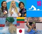 women's swimming 100 metre breaststroke podium, Rūta Meilutytė (Lithuania), Rebecca Soni (United States) and Satomi Suzuki (Japan) - London 2012 -